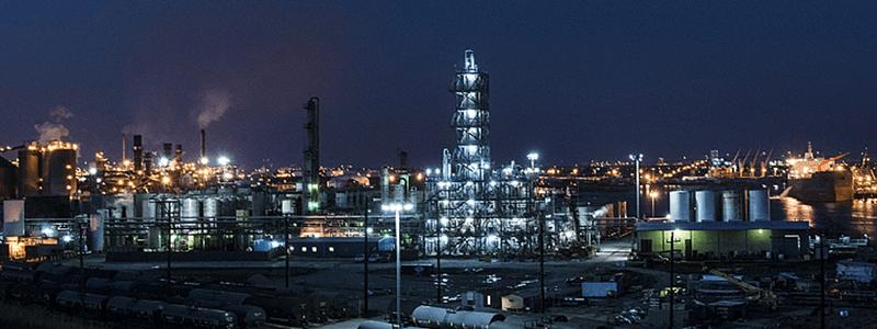 Refinery by night