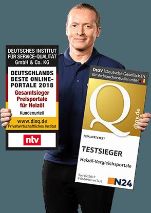 Joey Kelly hält HeizOel24 Testsieger Auszeichnung
